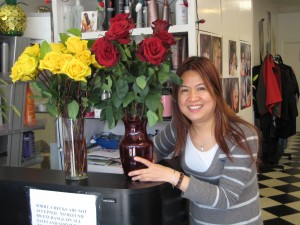 Hong with roses at Queen's Beauty House