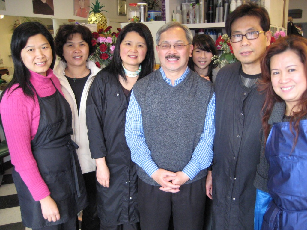 San Francisco Mayor Ed Lee with Queen's Beauty House Staff